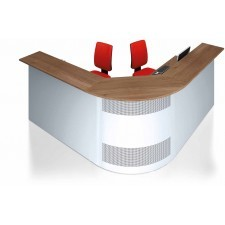 Reception desk with curved corners