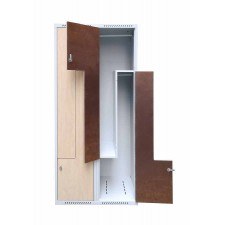 Office locker with L-shaped doors